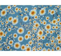 Šatovky - viskózová šatovka 2019 modrá žluté květy
