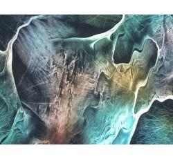 Hedvábí - hedvábná šatovka 2080 tyrkysový mramorový vzor