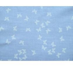 Bavlněné látky - bavlněná látka modrá s motýlky