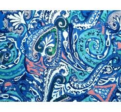 Halenkoviny - halenkovina 8448 kašmírový vzor modrá