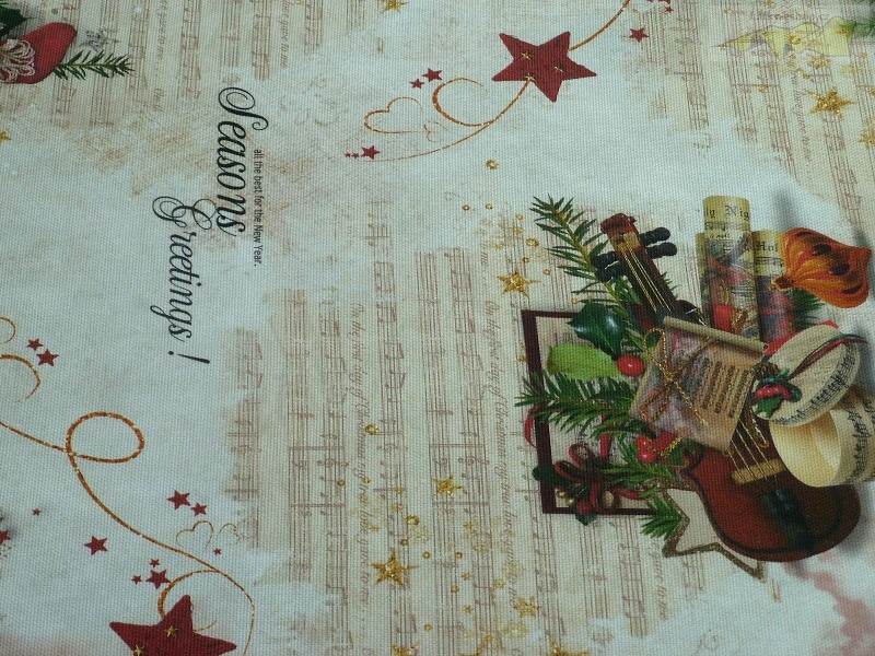 vánoční bavlněná látka s houslemi - Latky-eshop.cz 80ba30b830e