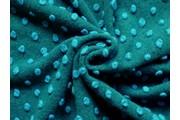 Kabátovky - kabátovka vařená vlna smaragdová tyrkysové puntíky