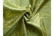 brokát 50 pistáciový zlatá výšivka