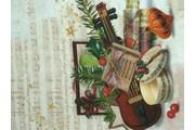 vánoční bavlněná látka s houslemi