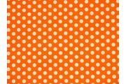 oranžová bavlněná látka bílý puntík
