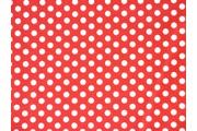 červená bavlněná látka bílý puntík