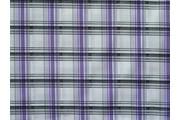 košilová látka 9850 fialová kostkovaná s lurexem