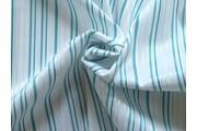 Halenkoviny - bílá košilová látka 9851 tyrkysový proužek