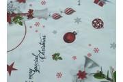 vánoční bavlněná látka s baňkami