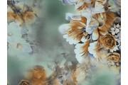 hedvábná šatovka 1102 zelenkavá s růžemi
