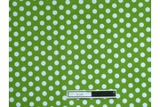 bavlněná látka zelená bílý puntík