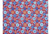 červený bavlněný úplet 2480 barevné kvítky