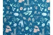bavlněný popelín kachní modř 663 se zvířátky