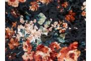černý velur 1994 květinový vzor