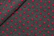 Kabátovky - kabátovka vařená vlna šedá červené puntíky