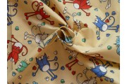 Bavlněné látky - krémová bavlněná látka 9400 s kočkami