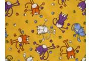 žlutá bavlněná látka 9400 s kočkami