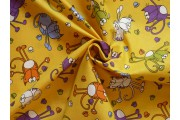 Bavlněné látky - žlutá bavlněná látka 9400 s kočkami