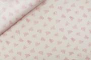 bílá bavlněná látka 21 růžový medvídci s puntíky