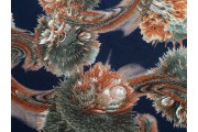 tmavě modrá viskóza 2050 hnědý květovaný vzor