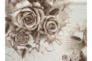 hnědá hedvábná šatovka 2080 s růžemi
