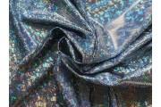 tmavě modrá látka s hologramem stříbrná