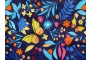 tmavě modrá bavlněná látka 2426 s motýly a květy