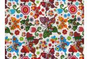 bílá bavlněná látka 2426 s motýly