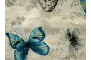 smetanová bavlněná látka 2426 s motýly