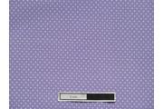 fialová bavlněná látka bílý puntík